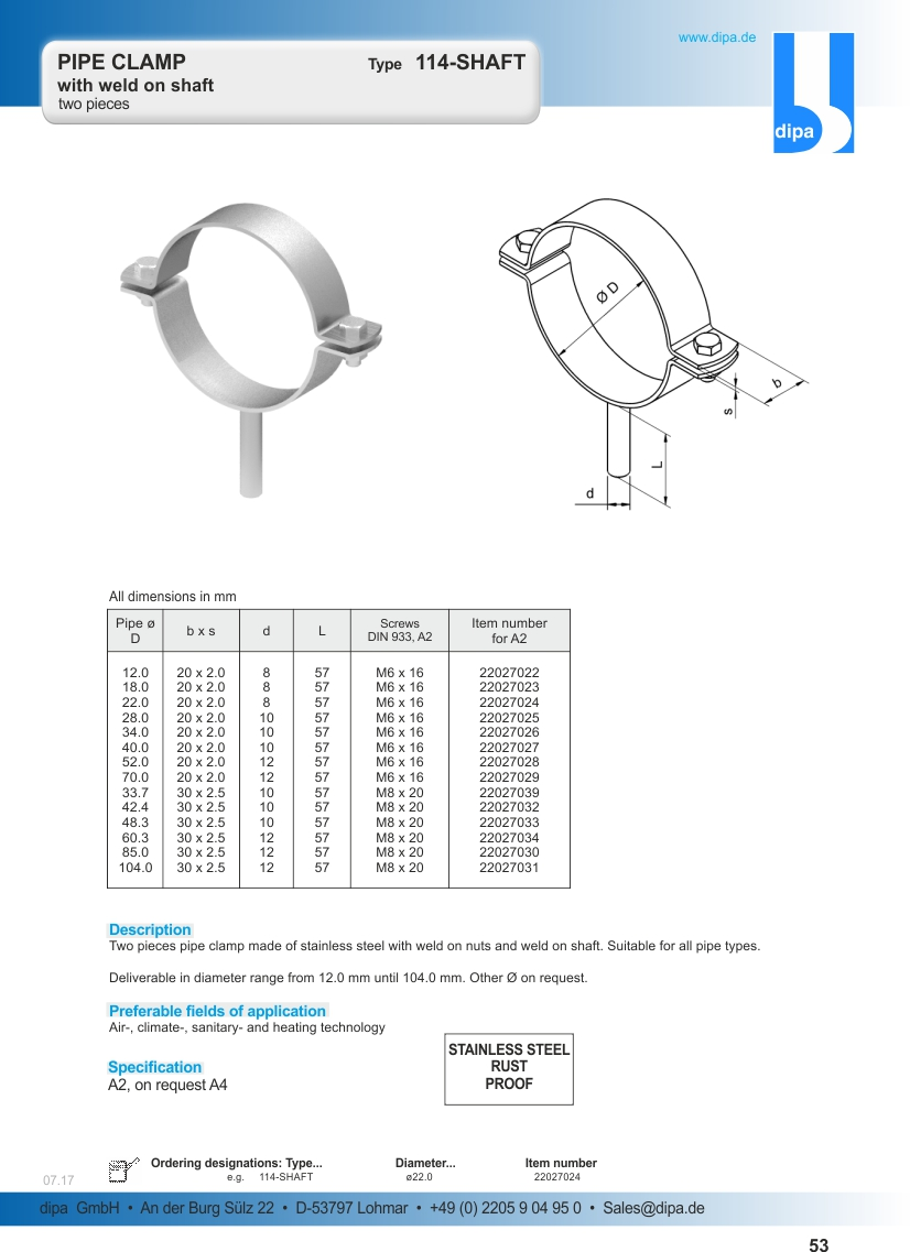 Pipe Clamp Type 114 Shaft Dipa Pipe Supports